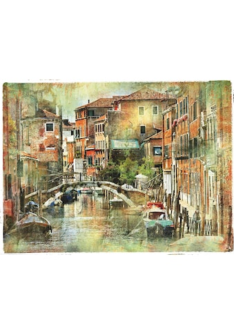 Home affaire Leinwandbild »Venedig, künstlerische Darstellung im Malstil«, 80/60 cm kaufen