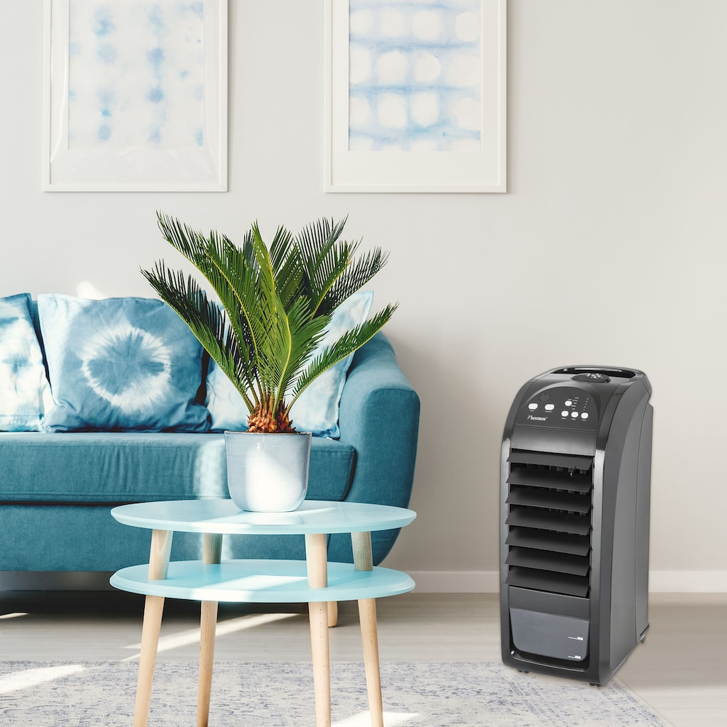 bestron Luftkühler »mobiles Gerät«, mit Fernbedienung, Dauernutzung von max. 20h, 70 W, Schwarz