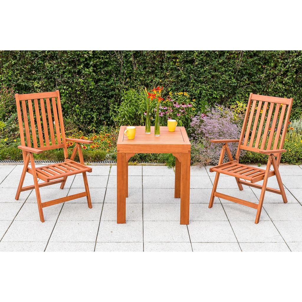MERXX Gartensessel »Vitoria«, 2er Set, Eukalyptusholz, klappbar, verstellbar, braun