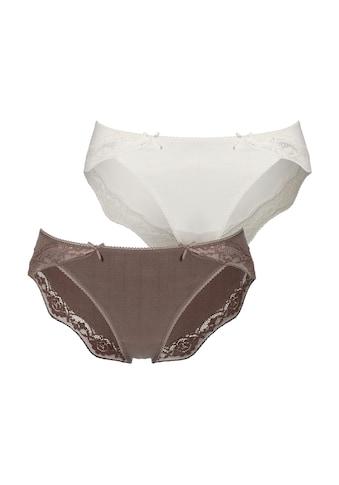 LASCANA Bikinislip, (2er-Pack), mit zarter Spitze und Nadelzugstreifen kaufen