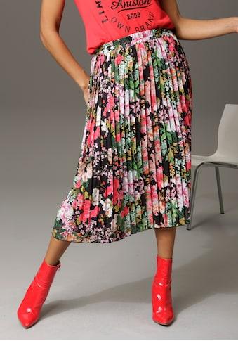 Aniston CASUAL Plisseerock, mit farbenfrohen Blumendruck - NEUE KOLLEKTION kaufen
