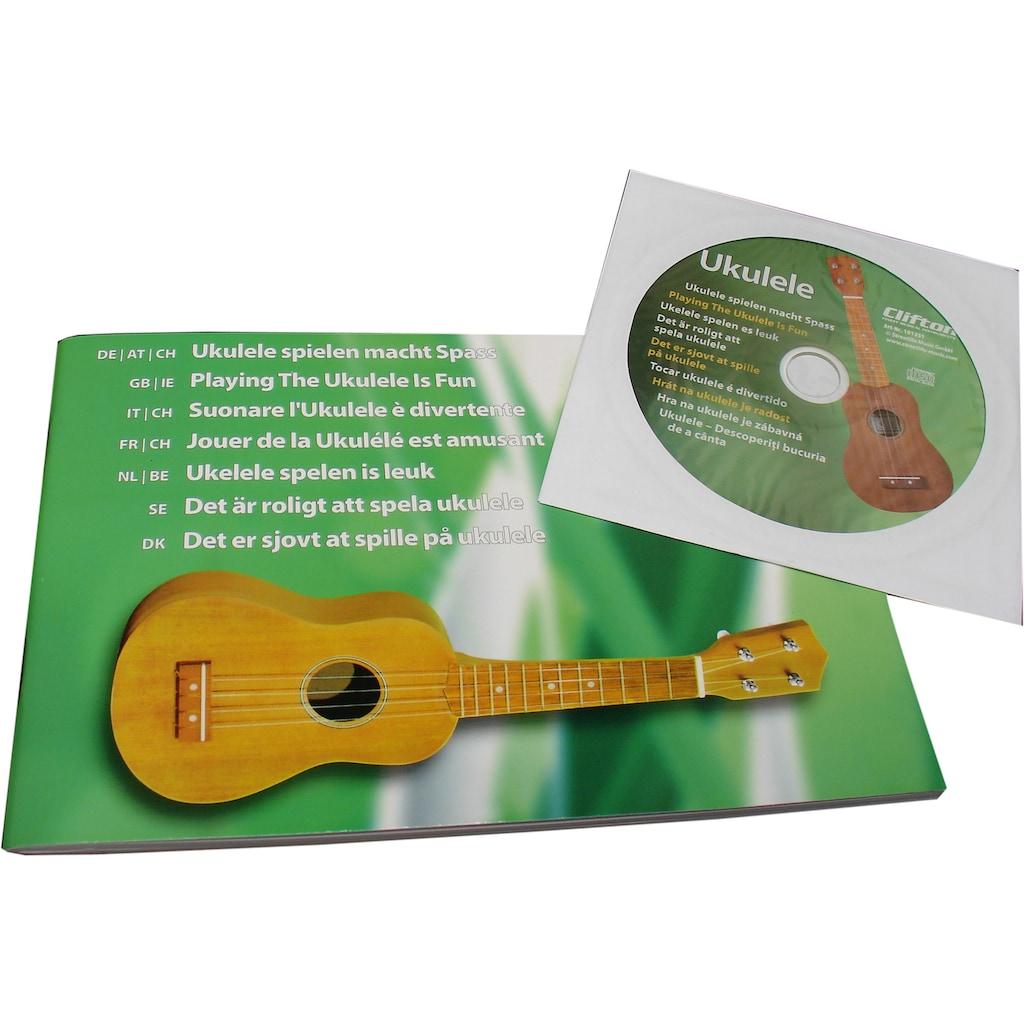 Clifton Ukulele »Sopran Ukulele mit Buch und CD, braun«