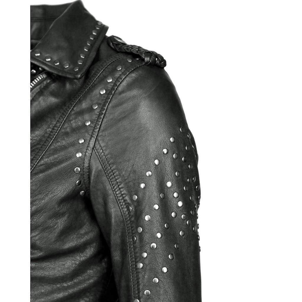Maze Lederjacke mit asymmetrischem Reißverschluss »Titana«