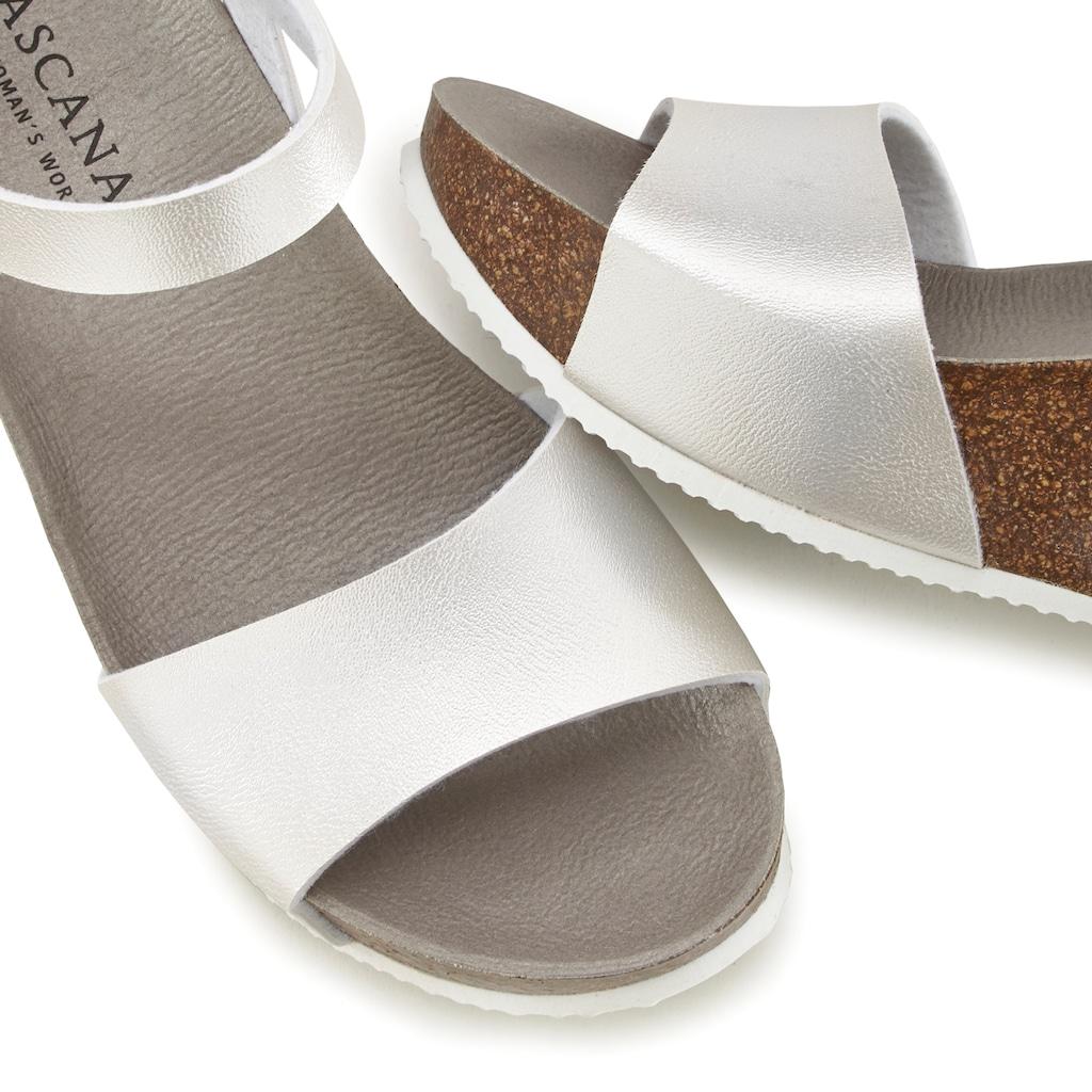 LASCANA Sandalette, mit Keilabsatz und Korkfußbett
