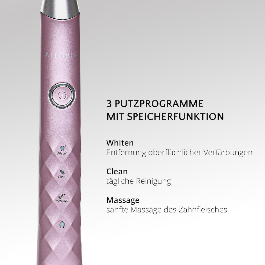 AILORIA Schallzahnbürste »SHINE BRIGHT«, 2 St. Aufsteckbürsten, USB rosé/silber