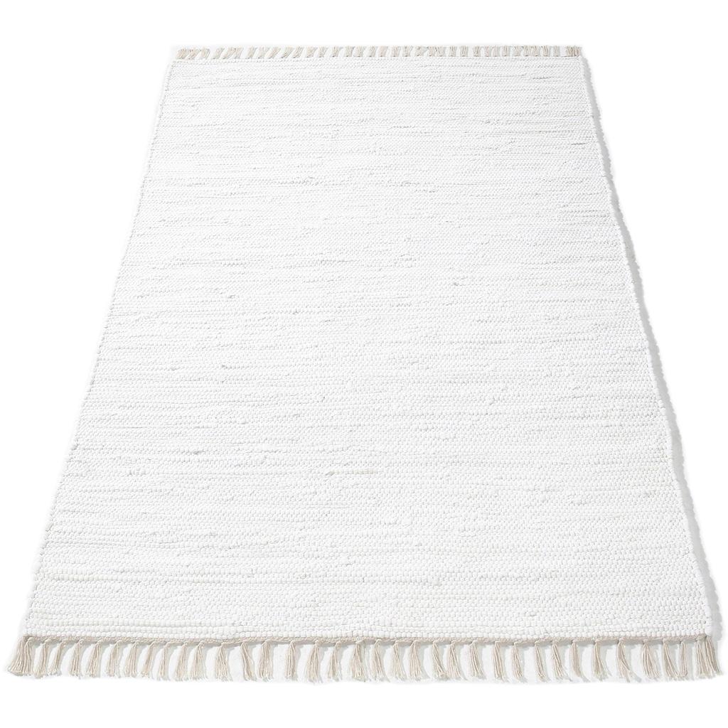 DELAVITA Teppich »Finni«, rechteckig, 4 mm Höhe, Wendeteppich mit Fransen, Wohnzimmer