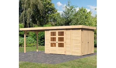 WOODFEELING Set: Gartenhaus »Retola 3«, BxT: 604x238 cm, mit Anbauschrank und Anbaudach kaufen