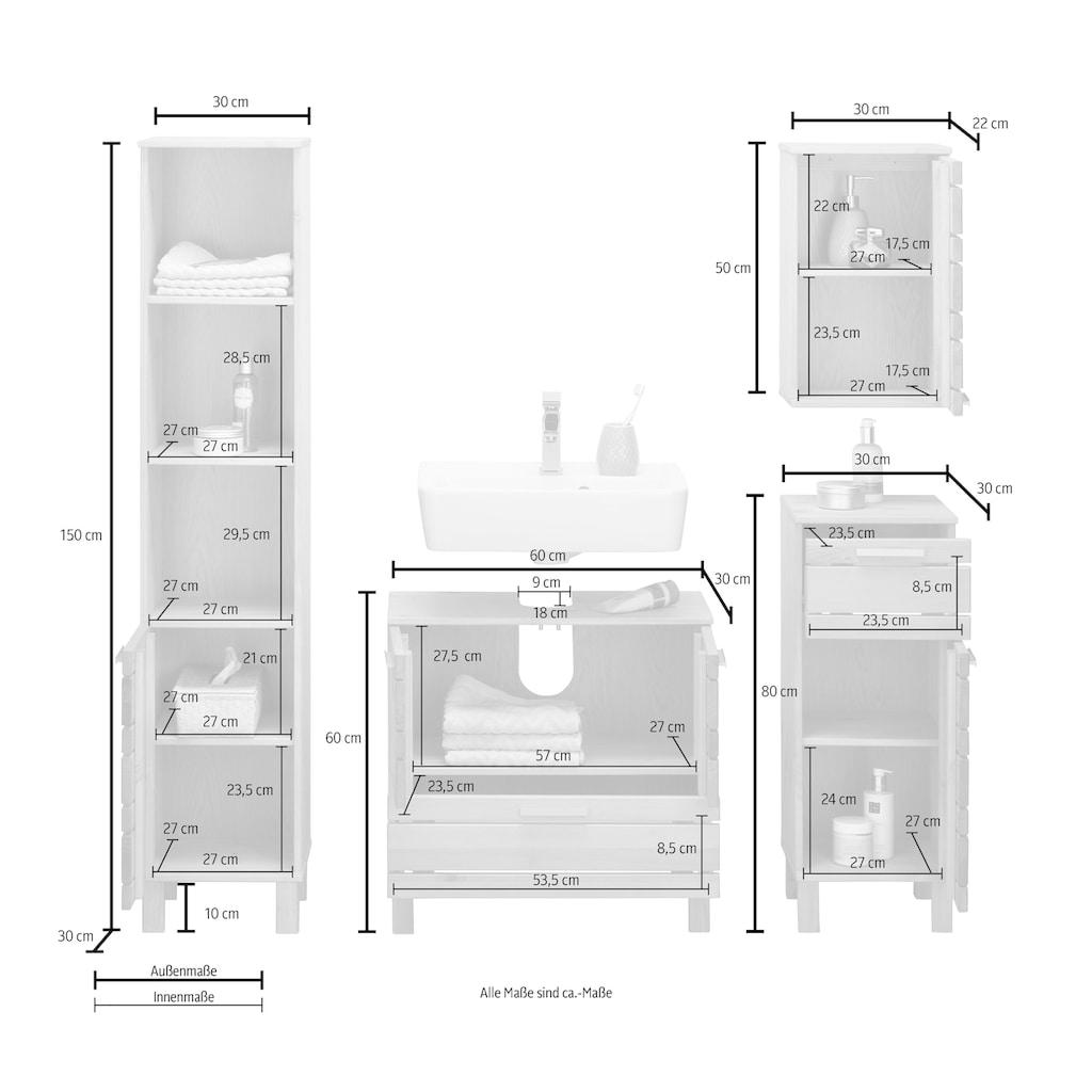 Home affaire Badmöbel-Set »Josie«, (Set, 4 St.), aus Massivholz, verstellbare Einlegeböden, Metallgriffe