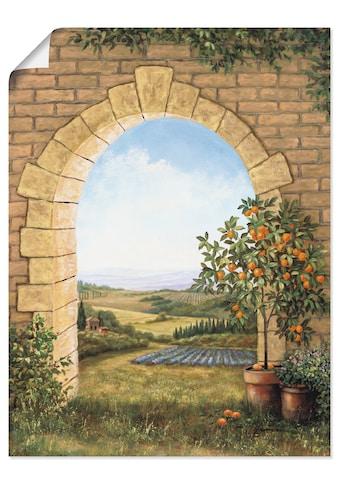 Artland Wandbild »Orangenbaum vor dem Torbogen«, Fensterblick, (1 St.), in vielen... kaufen