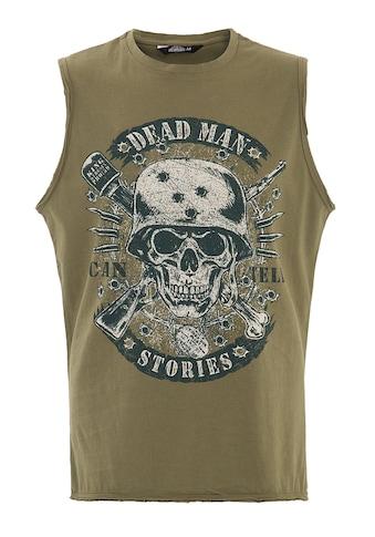 KingKerosin Tanktop, mit Skull Print vorne und geschnittenen Kanten kaufen