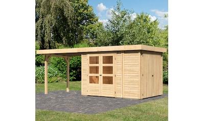 WOODFEELING Set: Gartenhaus »Retola 2«, BxT: 580x238 cm, mit Anbauschrank und Anbaudach kaufen