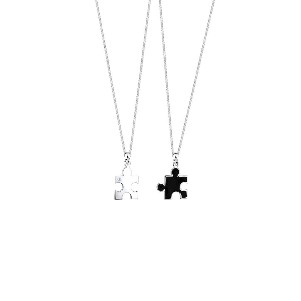 Elli Ketten-Set »Partnerketten Puzzle Zirkonia 925 Sterling Silber«