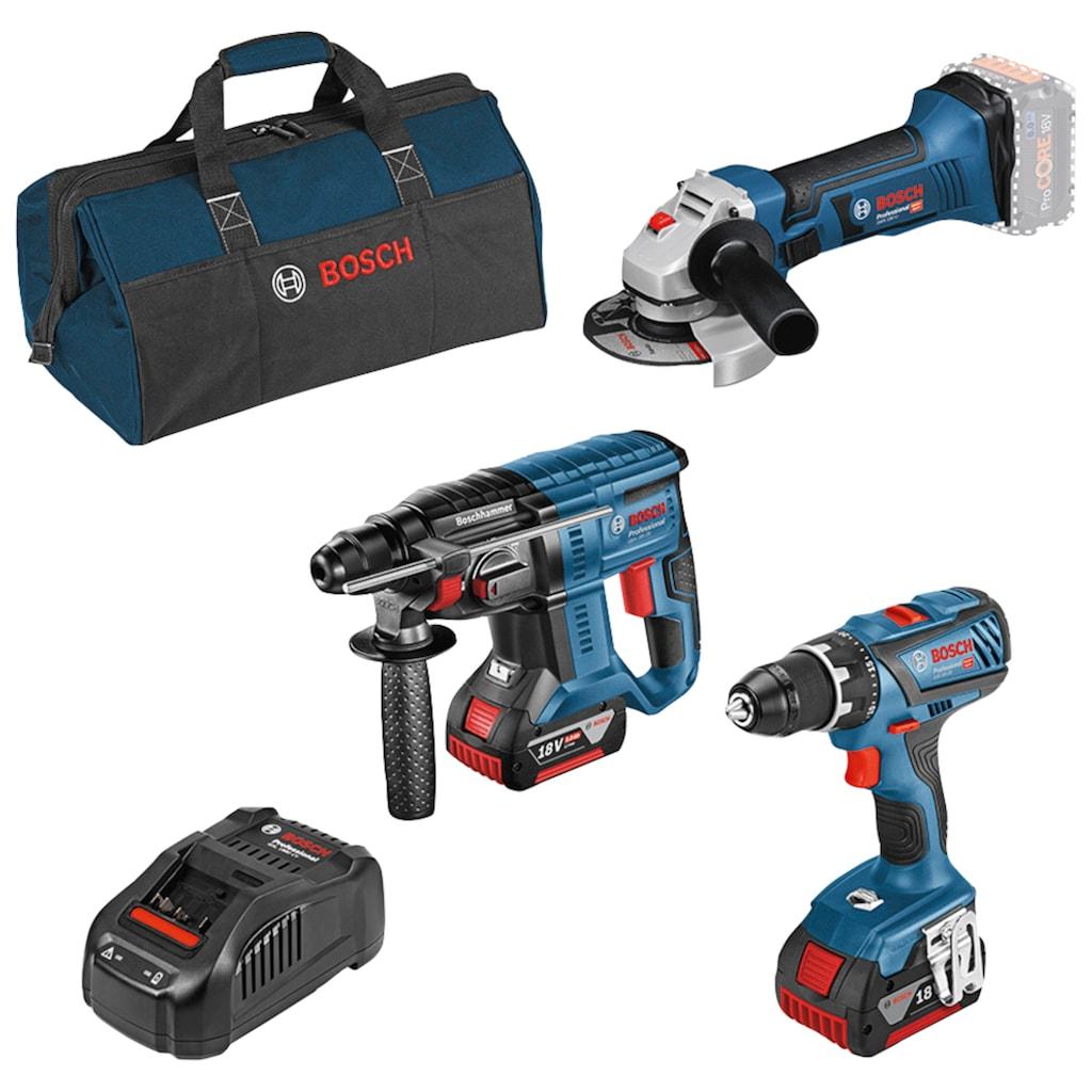 Bosch Professional Akku-Schrauber, mit 3 Werkzeugen, Werkzeugtasche, Akkus und Ladegerät