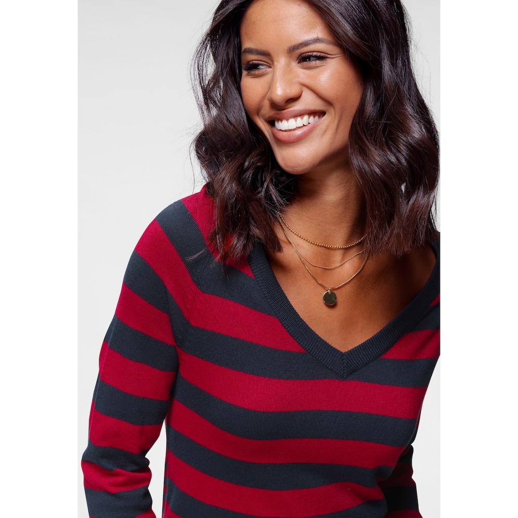 Tamaris V-Ausschnitt-Pullover, mit besonderem Streifendesign
