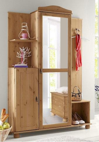 Home affaire Kompaktgarderobe »Finca«, aus massivem Kiefernholz, mit vielen Stauraummöglichkeiten kaufen