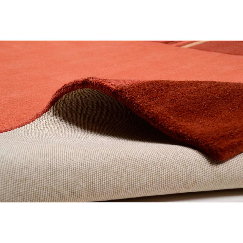 THEKO Wollteppich »Ambadi«, rechteckig, 14 mm Höhe, reine Schurwolle, handgetuftet, mit Bordüre, modern, Wohnzimmer