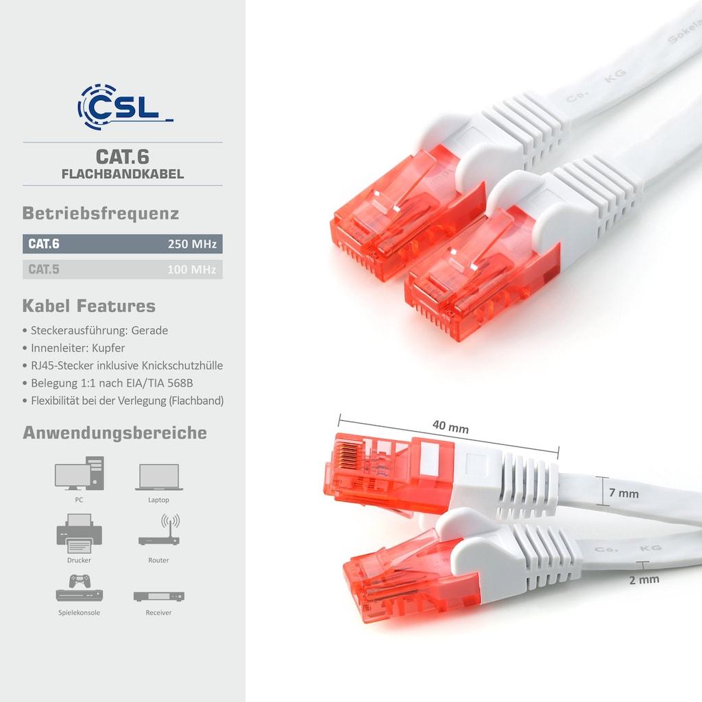 CSL Netzwerkkabel »2x RJ45 Flachband weiß/rot«, RJ-45 (Ethernet), 1000 cm