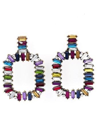 J.Jayz Paar Ohrstecker »in geometrischer Form, bunte Vielfalt«, mit Glassteinen kaufen
