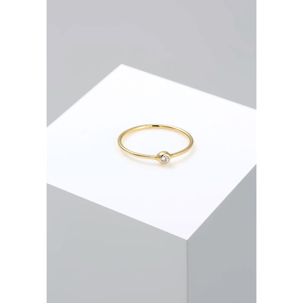 Elli Fingerring »375 Gelbgold Solitärring Zirkonia«