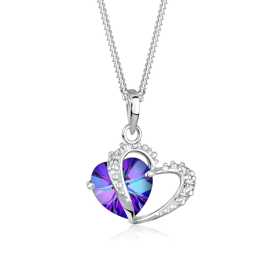 Elli Collierkettchen »Herz Anhänger Kristalle Love 925 Silber«