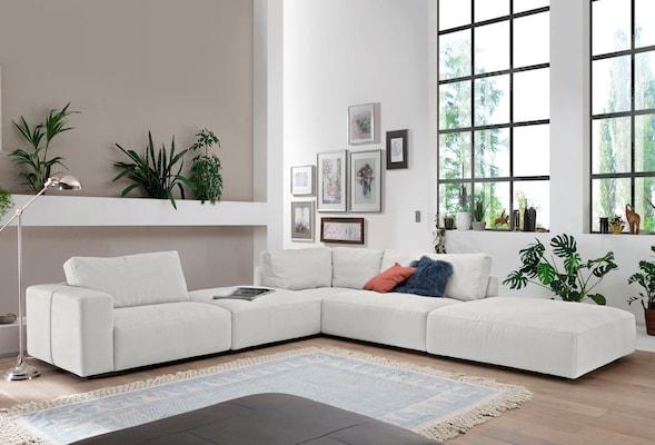 Ecksofa in Weiß
