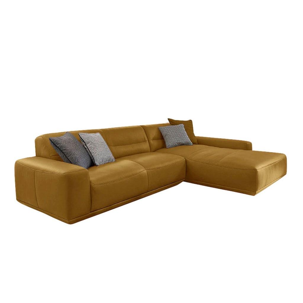 W.SCHILLIG Ecksofa »william«, Ledersofa mit Recamiere, wahlweise mit Sitztiefenverstellung, Breite 298 cm