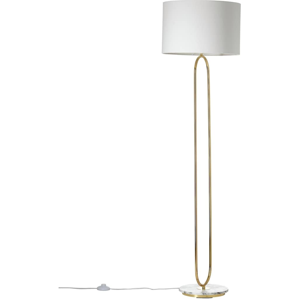 Guido Maria Kretschmer Home&Living Stehlampe »ZERIA«, E27, Fuß der Stehleuchte in Marmor-Optik, weißer Stoff-Schirm