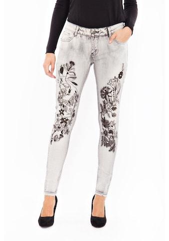 Blue Monkey Skinny-fit-Jeans »Honey 8081«, mit floraler Stickerei und Strasssteinen kaufen