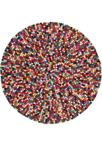 Obsession Wollteppich »My Passion 730«, rund, 30 mm Höhe, Filzkugel-Teppich, reine... kaufen