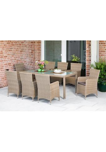 MERXX Gartenmöbelset »Lipari«, (9 tlg.), 8 Sessel mit Sitzkissen und Tisch kaufen