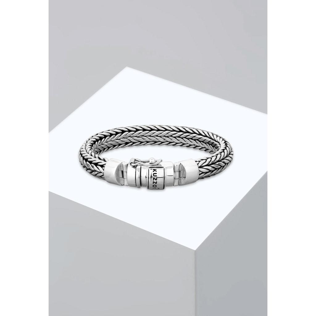 Kuzzoi Armband »Herren Kastenverschluss Zopfglieder 925er Silber«