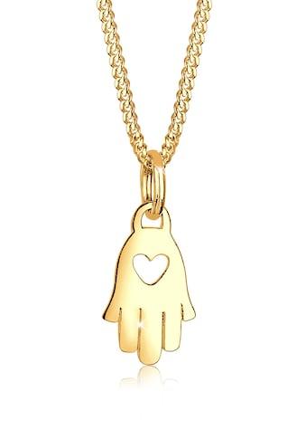 Elli Kette mit Anhänger »Hamsa Hand Herz Symbol Talisman 585 Gelbgold« kaufen