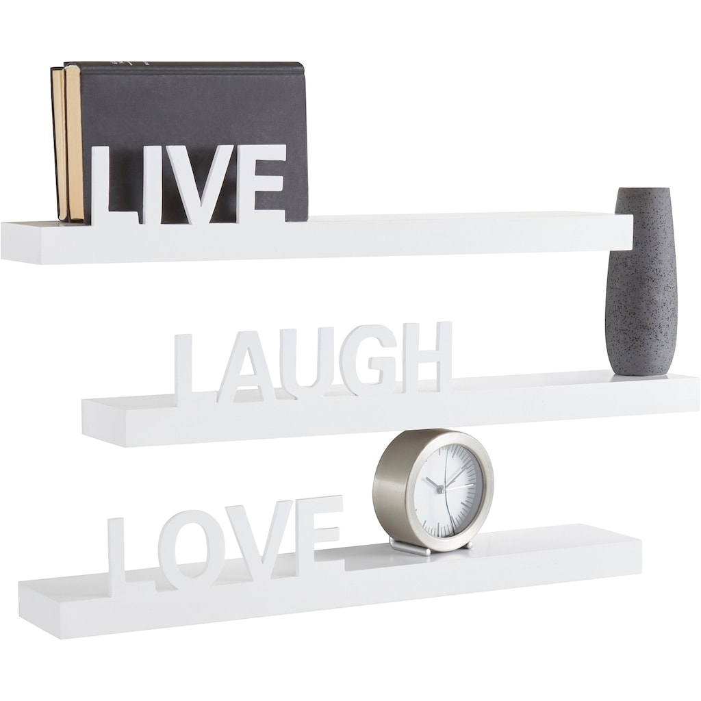my home Wandregal »Live - Love - Laugh«, (Set, 3 St., 3-tlg. Set), Dekoregal, Wanddeko, mit Schriftzug