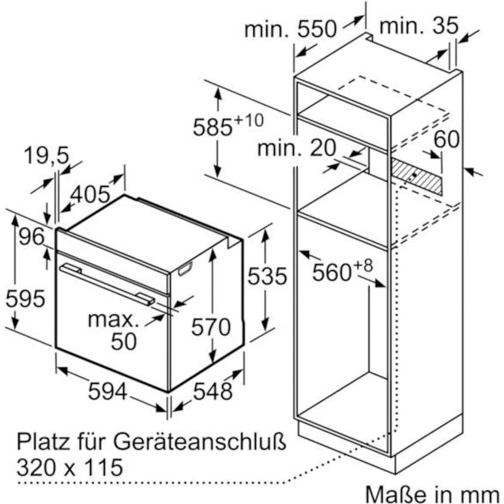 BOSCH Einbaubackofen »HBA334YB0«, Serie 4, HBA334YB0, mit 2-fach-Teleskopauszug, ecoClean Direct