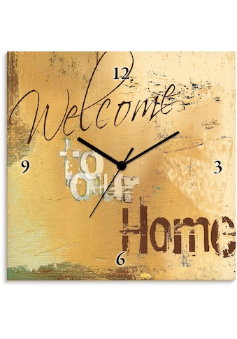 Artland Wanduhr »Willkommen in unserem Zuhause«, lautlos, ohne Tickgeräusche, nicht... kaufen