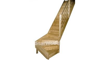 STARWOOD Raumspartreppe »Korfu«, geschl. Stufen, 1/4 rechts gewendelt, Holz - Edelstahlgel. re kaufen