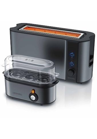 Arendo Frühstücks Set 2 - teilig in Grau »Eierkocher und Edelstahl Langschlitz  - Toaster« kaufen