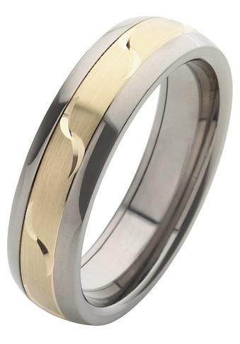 Firetti Trauring mit Gravur »6,0 mm, glanz, längs gebürstet, mit Diamantschnitt, bicolor« kaufen