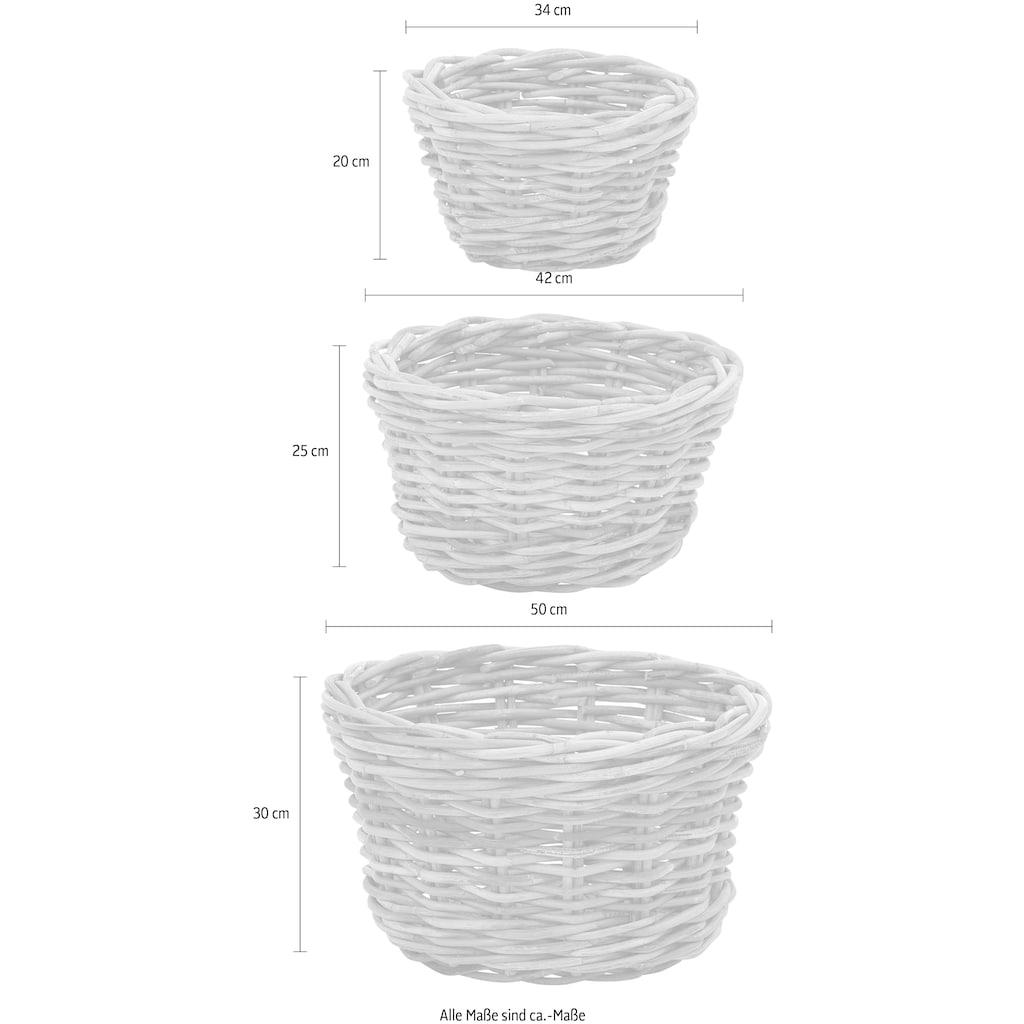 Home affaire Allzweckkorb »Priya«, 3er Set aus Korbrohrgeflecht, für ein praktisches Ordnungssystem
