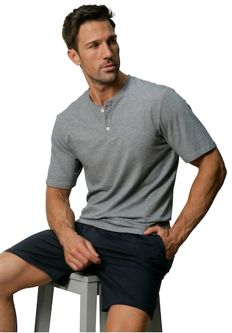 s.Oliver Pyjama, Oberteil in Melange-Optik mit Knopfleiste kaufen