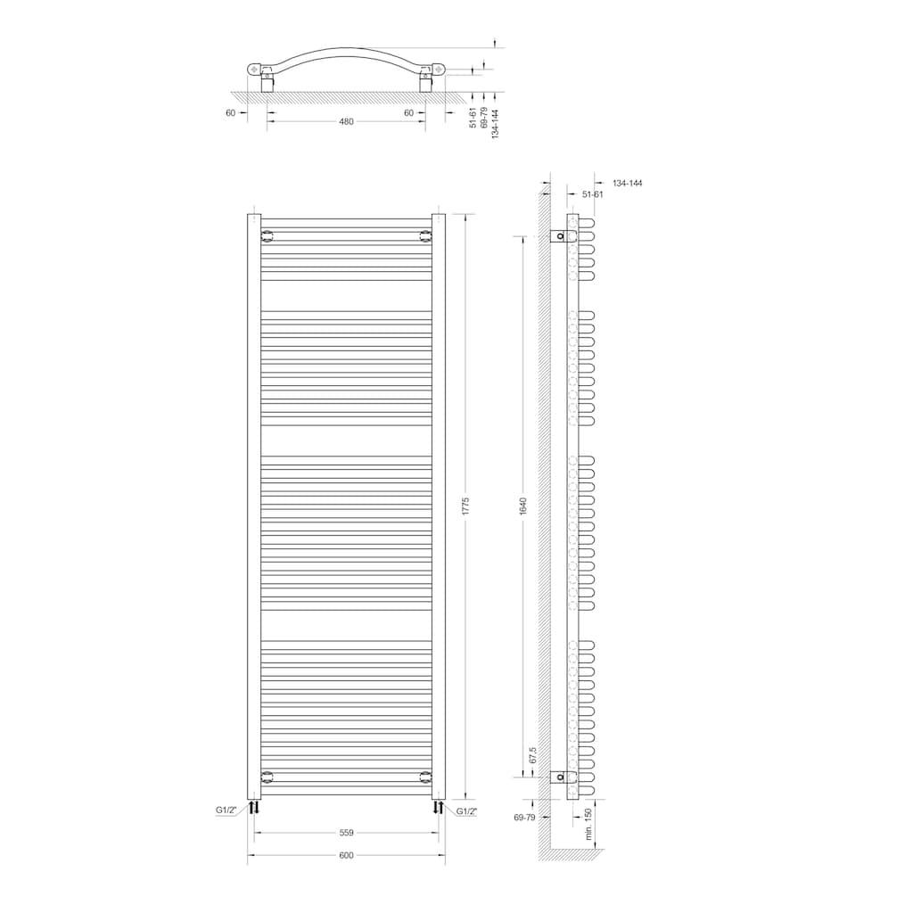 Schulte Badheizkörper »Olympia«, 121,5 x 60 cm