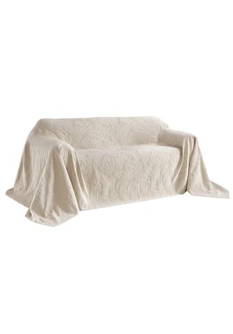Sofaüberwurf mit schönem Blätterdessin kaufen