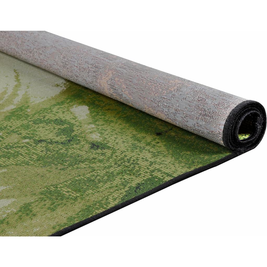 TOM TAILOR Teppich »Garden Palm«, rechteckig, 3 mm Höhe, Flachgewebe, In- und Outdoor geeignet, Wohnzimmer