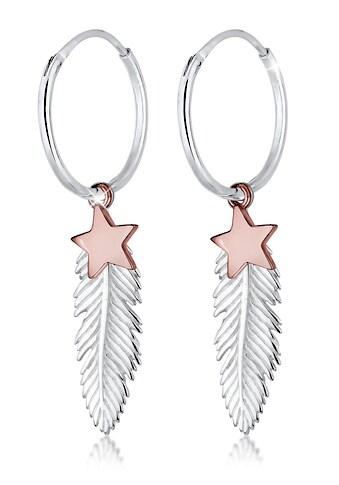 Elli Paar Creolen »Creole Sterne Feder Astro Bi-Color Boho 925 Silber« kaufen
