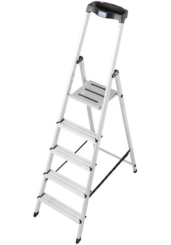 KRAUSE Stehleiter »Safety«, Aluminium, 1x5 Stufen, Arbeitshöhe ca. 305 cm kaufen