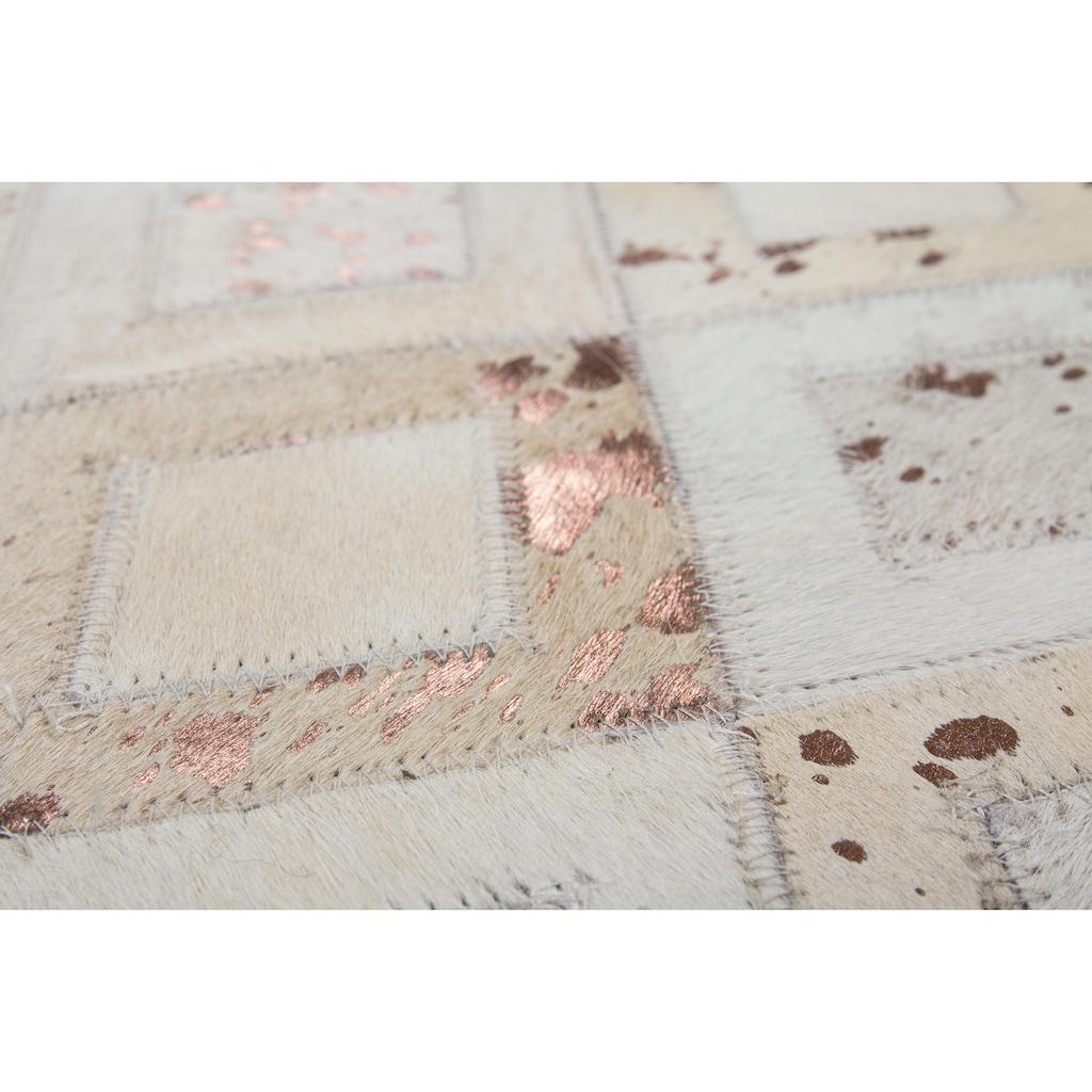 DELAVITA Lederteppich »Arno«, rechteckig, 8 mm Höhe, jeder Teppich-ein Unikat, Wohnzimmer