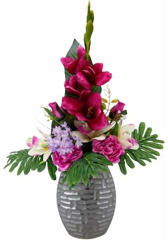 I.GE.A. Kunstpflanze »Arrangement Gladiole / Rosen in Vase« (1 Stück) kaufen