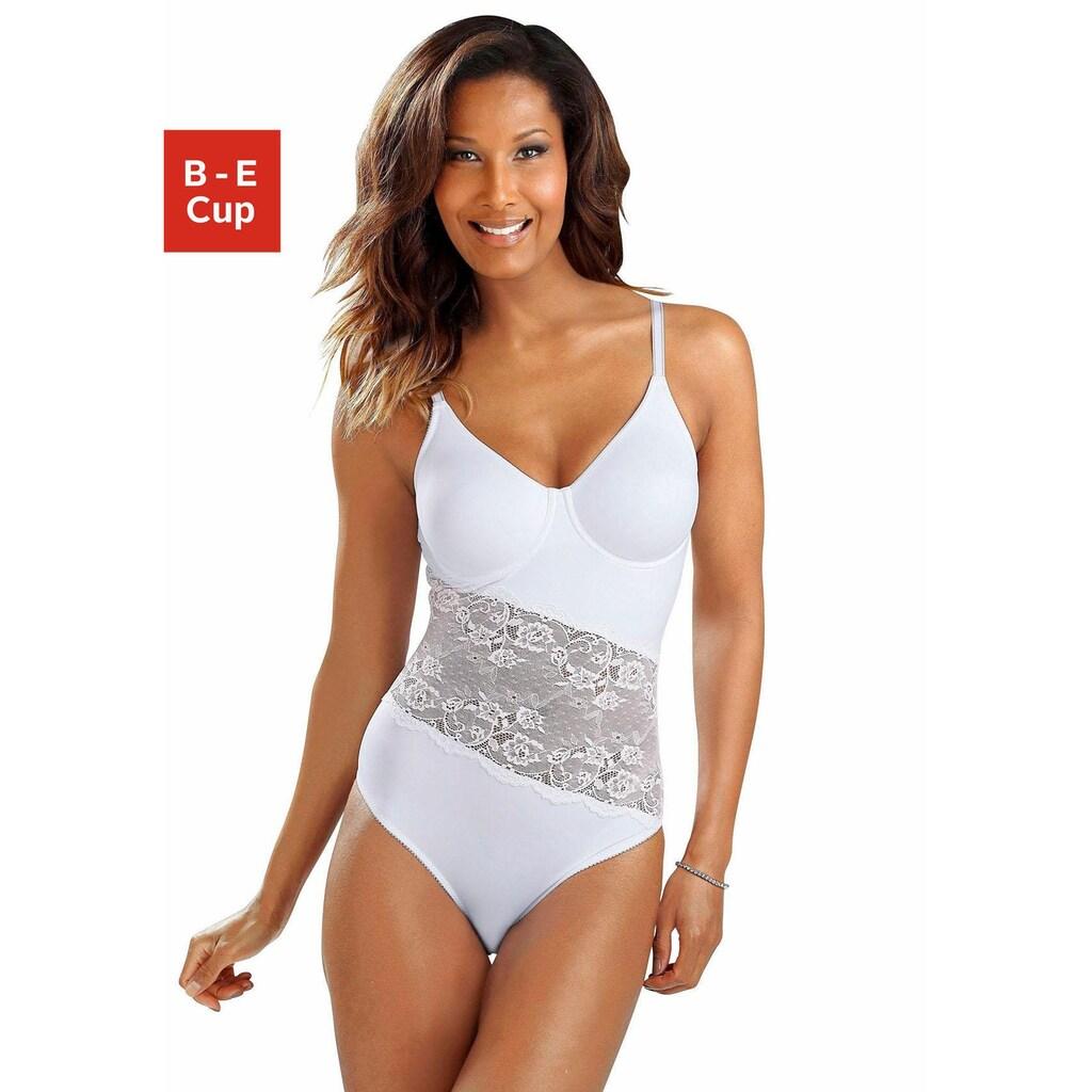 Nuance T-Shirt-Body, mit Bügel und asymmetrischen Spitzeneinsatz vorne