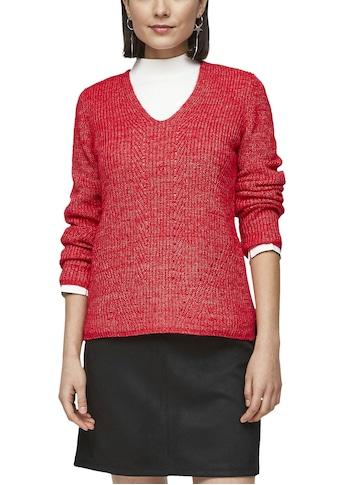 s.Oliver V-Ausschnitt-Pullover, im schönen Ajours-Strickmuster kaufen