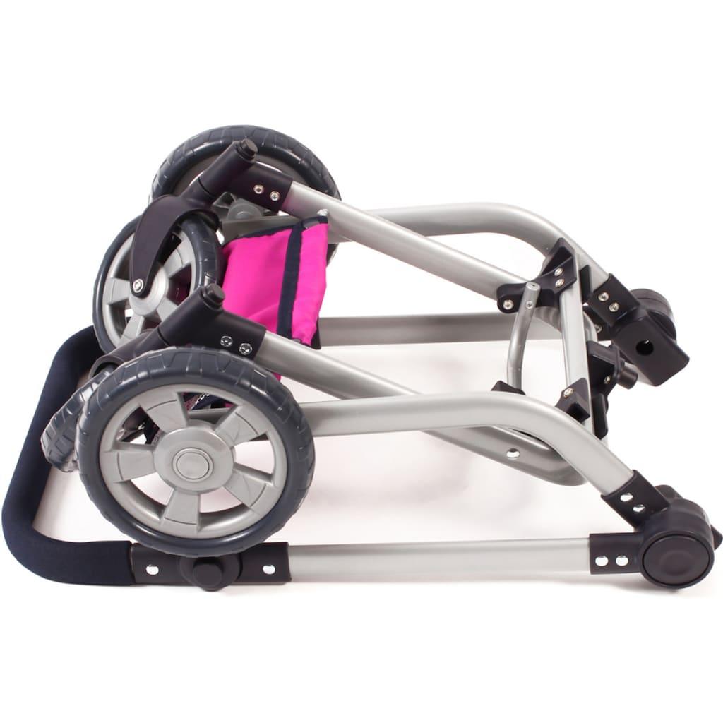 CHIC2000 Kombi-Puppenwagen »Mika, Navy-pink«, mit schwenkbaren Vorderrädern
